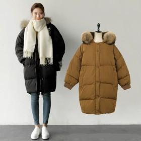 あったか中綿ダウンジャケット レディースアウター ロング ミリタリー ファー フード 無地 厚手 ジップアップ アウター 冬服 防寒着