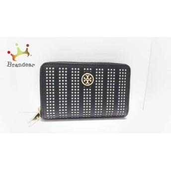 トリーバーチ TORY BURCH 財布 美品 黒×白 ラウンドファスナー レザー スペシャル特価 20190409