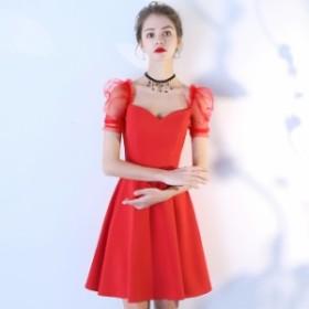 韓国 ドレス 結婚式 お呼ばれドレス ひざ ミモレ丈 ドレス パーティードレス ミモレ丈 Aライン 結婚式 二次会 同窓会 袖あり 半袖 ドレス