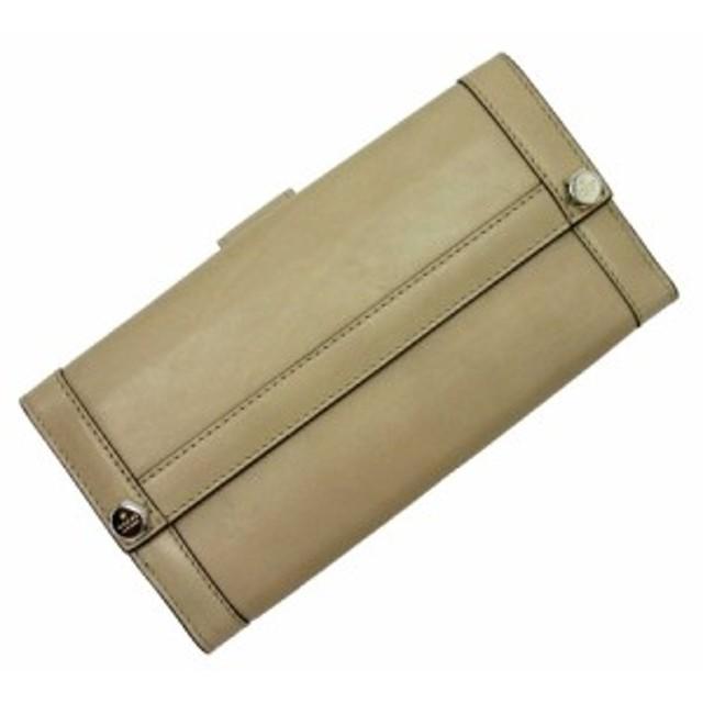 【定番人気】【中古】グッチ Wホック二つ折り長財布   レディース メンズ ベージュxシルバー t14040