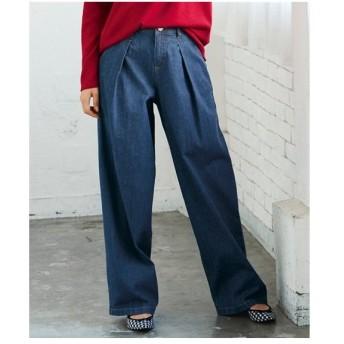 パンツ ワイド ガウチョ 大きいサイズ レディース デニム タックワイド 薄手素材 106〜98 ニッセン