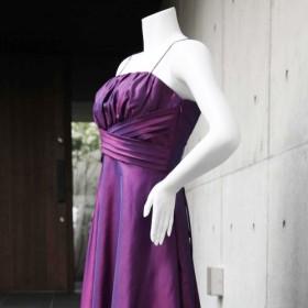 演奏会・発表会に / 楽器の邪魔にならないスッキリデザインきれいなお姉さんドレス(パープル) 1-0186-2