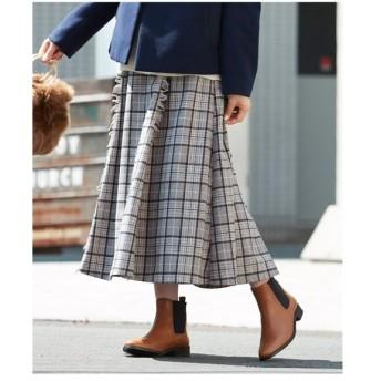 スカート ひざ丈 大きいサイズ レディース チェックフレアーギャザー  L〜10L ニッセン
