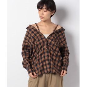 ジーラ 3WAYルーズネルチェックシャツ レディース オレンジ系 L 【GeeRa】