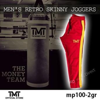 tmt-mp100-2gr ザ・マネーチーム トラックパンツ MEN'S RETRO SKINNY JOGGERS 赤ベース×黄色ロゴ ジャージ フロイド・メイウェザー ボクシング メンズ アメリカ