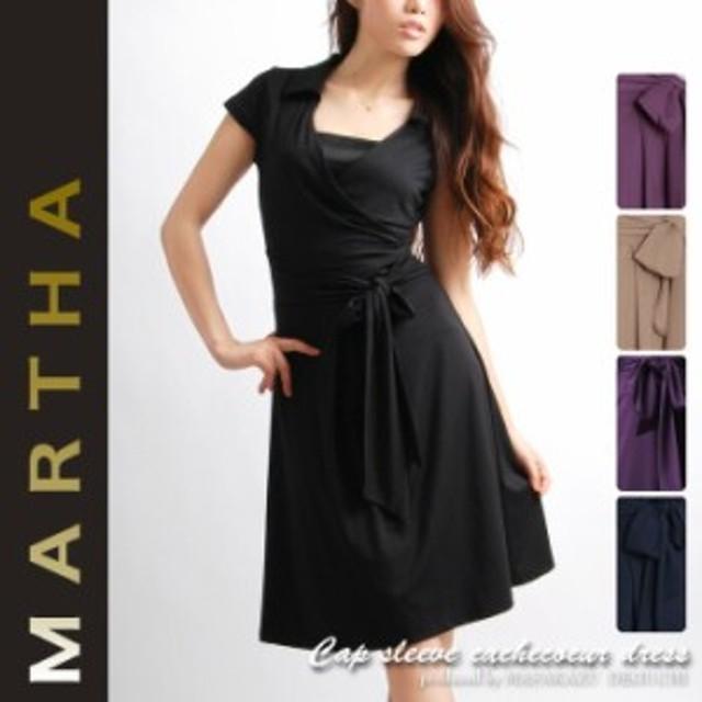 MARTHA/マーサ/キャップスリーブカシュクールワンピース/Lサイズ有り/6135