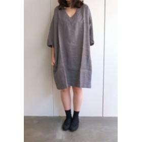 not PERFECT LINEN | washed linen KIMONO tunic (grey linen/wool blend/v neck) | 着丈90cm