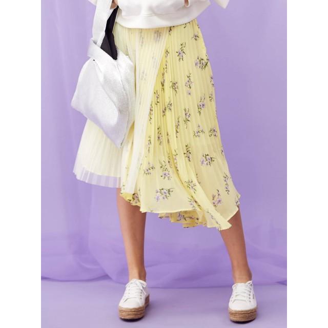 [MERCURYDUO]フラワーブロッキングプリーツスカート/花柄/ドット/ドッキング