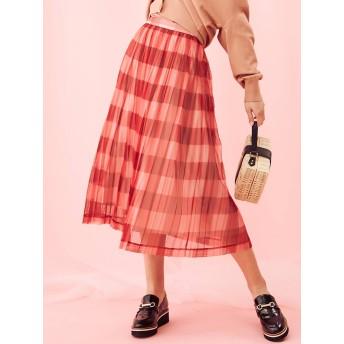 [MERCURYDUO]シアーチェック柄プリーツスカート