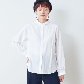 シャツ ブラウス レディース 着回し易い コットン素材の丸襟ブラウス 「ホワイト」,179) %>