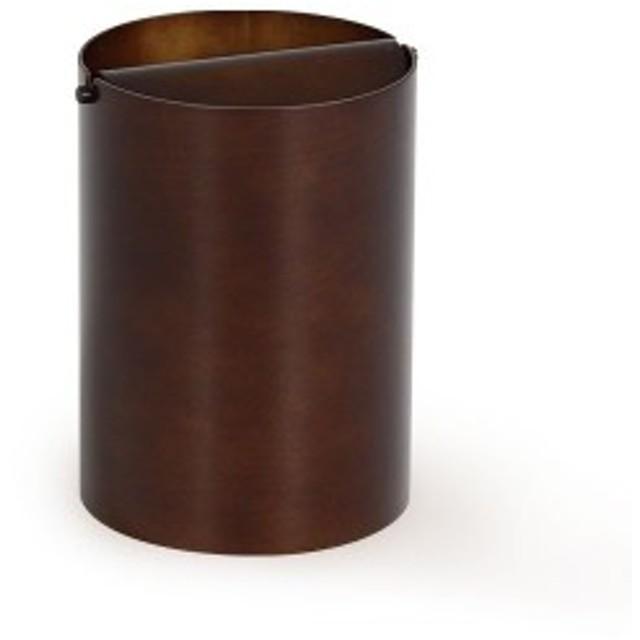 ふた付きゴミ箱 ダストボックス 木製 おしゃれ ゴミ箱 SAITO WOOD DH952A 回転蓋(L) ダークブラウン