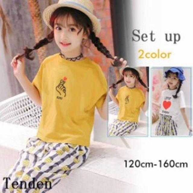5cfdb0b341cda セットアップ 上下セット 女の子 ハーフパンツ 子供服 キッズ tシャツ 半袖 カットソー 韓国子供服