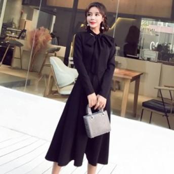 シンプルなデザイン ネックリボン 長袖 ワンピースドレス 3058