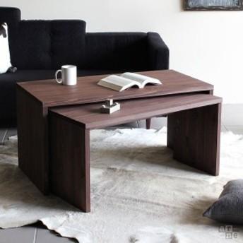 ローテーブル シンプル コの字 テーブル 木製 ダークブラウン センターテーブル 高さ50 ネストテーブル 間伐材 COII