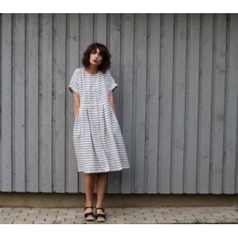 OffOn | short sleeve linen dress (grey stripe) | ワンピース | 着丈90cm【リトアニア リネン 麻 北欧 東欧】