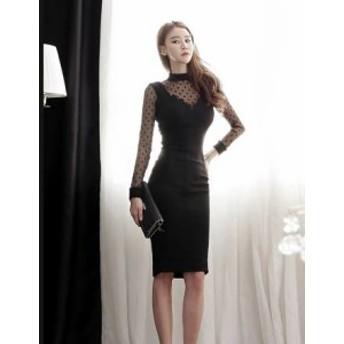 ドットが可愛い シースルー タイトスカート ドレス 長袖 4111