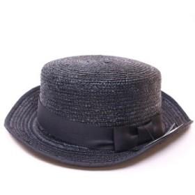 ディレクショントゥゲットモッシュ ハット 帽子 ブラック 天然素材 リボン 59cm 中古 未使用 Sランク Direction to get mosh 麦わら帽子