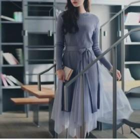 ロングニット+スカート セットアップ 秋冬 2色展開 ウエストリボン ふんわり チュール アシンメトリーデザイン