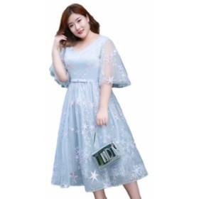 レディース ミディアムドレス  体型カバー 大きいサイズ  オケージョンドレス 映画祭  同窓会 発表会 宴会 ドレス 18mh112