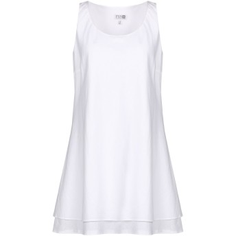 《期間限定セール開催中!》FUSCO ANTONIO FUSCO レディース ミニワンピース&ドレス ホワイト 42 コットン 50% / 麻 50%