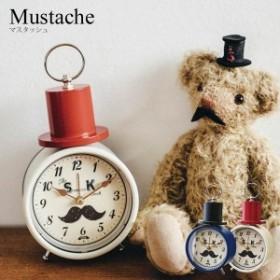 目覚まし時計 アナログ 時計 デザイン時計 ヒゲ 髭 おしゃれ 置き時計 アンティーク かわいい