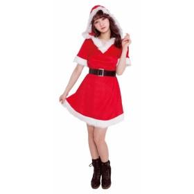 クリスマス コスプレ フードフレアサンタ クリアストーン コスチューム 衣装 レディース