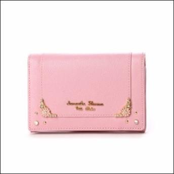 サマンサタバサ プチチョイス フラワーモチーフシリーズ 折財布 ピンク