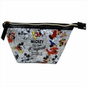 ミッキーマウス コスメポーチ グリッターポーチ 90周年記念 シルバー ディズニー 19×10×7cm キャラクター グッズ