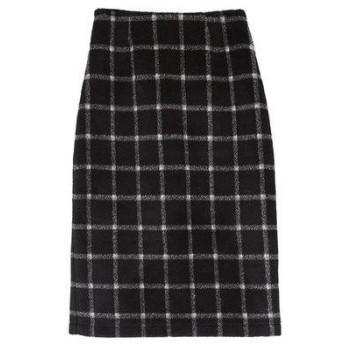 ユアーズ ur's ウール混チェックタイトスカート (ブラック)