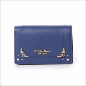 サマンサタバサ プチチョイス フラワーモチーフシリーズ 折財布 ブルー