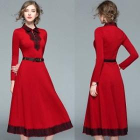袖あり パーティードレス 袖あり 大きいサイズ レース ワンピース レース パーティ ドレス ワンピース 10代 20代 30代 ドレス 赤 袖あり