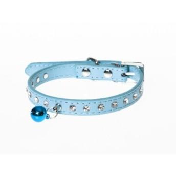 ペット用首輪 猫 小型犬 可愛い ラインストーン装飾 Sサイズ#ブルー【新品/送料込み】