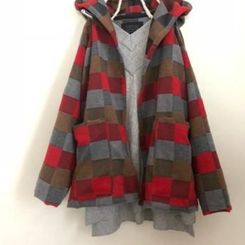 大人可愛いイタリー製チェックウールフード付きハーフコート