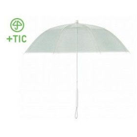 +TIC/プラスチック  PT701 長傘 手開き カラー ライン 全5色 オールプラスチック製 張り替え可能 8本骨 60cm (グリーン)