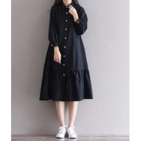 ワンピース ひざ下丈 ミディ丈 ロング丈 ロングワンピース 長袖 体型カバー 大きいサイズ黒 ブラック ナチュラル シンプル yi362