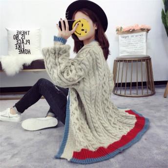 Fashions、2018新品 Vネック レトロ ゆったりする セーター ニットカーディガン