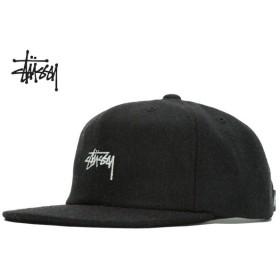 ステューシー Stssy キャップ STUSSY MELTON WOOL STRAPBACK CAP HO18 black 6パネル メルトン ウール 帽子 バックストラップ ブラック 131853