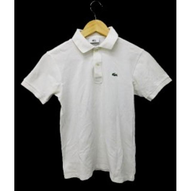 【中古】ラコステ LACOSTE ポロシャツ 半袖 鹿の子 150 白 ホワイト