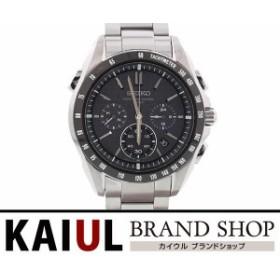 10a8c4c037462c セイコー ブライツ ソーラー電波 クロノグラフ SAGA077 SS ブラック クオーツ メンズ 腕時計 SAランク