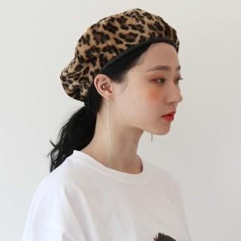 レオパード ヒョウ柄 ベレー帽 帽子 レディース 韓国 ファッション シック おしゃれ トレンド