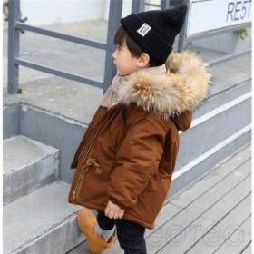 1025e2dd190dc 中綿コート男の子中綿ジャケット無地厚手子供ショットキッズフード付きアウタージュニア冬防寒