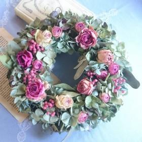 ―ボタニカルcake― 大きな薔薇と秋色紫陽花のリース