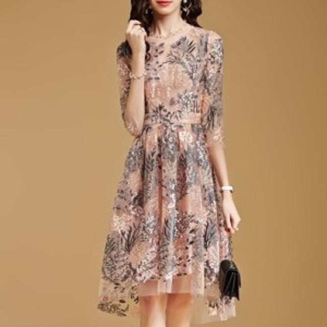 花柄 ドレス ワンピース 刺繍 大きいサイズ 2L フォーマル 七分袖 お呼ばれ 結婚式 パーティードレス シースルー シフォン エレガント