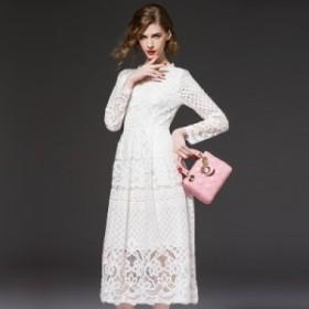 お呼ばれ 結婚式 ドレス 50代 大きいサイズ 総レース ロング ドレス Aライン ミモレ丈 長袖 フレアスリーブ 上品 フォーマル