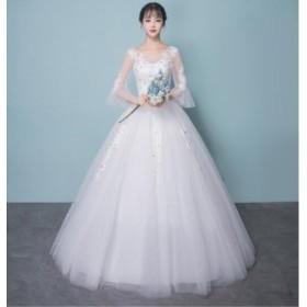 ウェディングドレス パーティードレス パールビーズ/ストーン 結婚式 披露宴  司会者 舞台衣装 花嫁 ホワイト ロングドレス