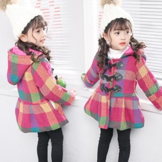c7c5dc168588e 子供服 女の子 ダッフルコート長袖 韓国子供服 フード付きコート チェック柄 キッズ 女児