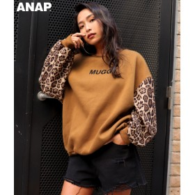 【セール開催中】ANAP(アナップ)袖レオパードプリントプルオーバー