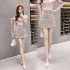 チェック ミニスカート グレンチェック レディース ガーリー 大人可愛い プチプラ 肌見せ 韓国 ファッション 大きいサイズ 春 スカート