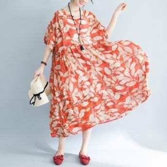 リーフ柄 シフォン ドレス ワンピース レディース リゾート ミモレ丈 ラウンドネック 半袖 ゆったりサイズ 体型カバー 夏新作 夏服