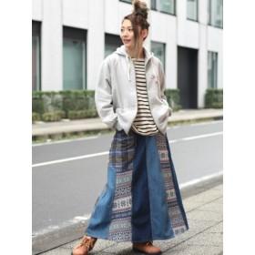 【大きいサイズレディース】【3-5L】【15号】ジャガードパッチチェックスカート スカート ロングスカート